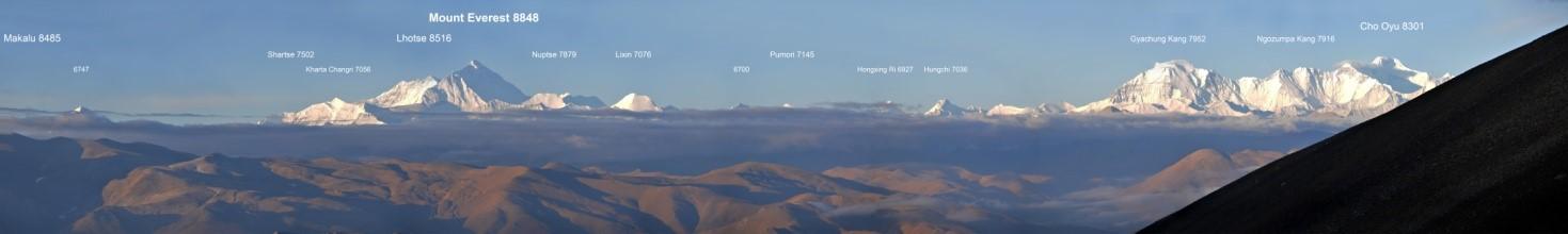 Tibet - Pangla Pass-8000er Makalu, Lhotse, Everest und Cho Oyu in den ersten Sonnenstrahlen